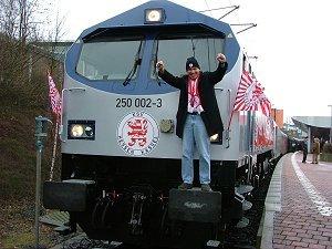 Jens Rose mit seiner Lok