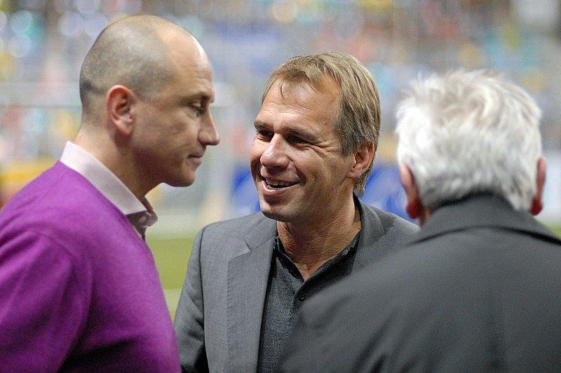 Vor dem Spiel: Trainer Matthias Hamann und Jens Rose (re.)