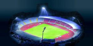 So wird es morgen: Das Auestadion leuchtet bei Nacht. Unser Foto entstand mithilfe der Flugschule Uwe Knabe