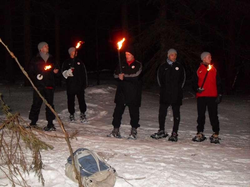 Abendliche Fackelwanderung im KSV-Trainingslager in Oberhof/Th�ringen