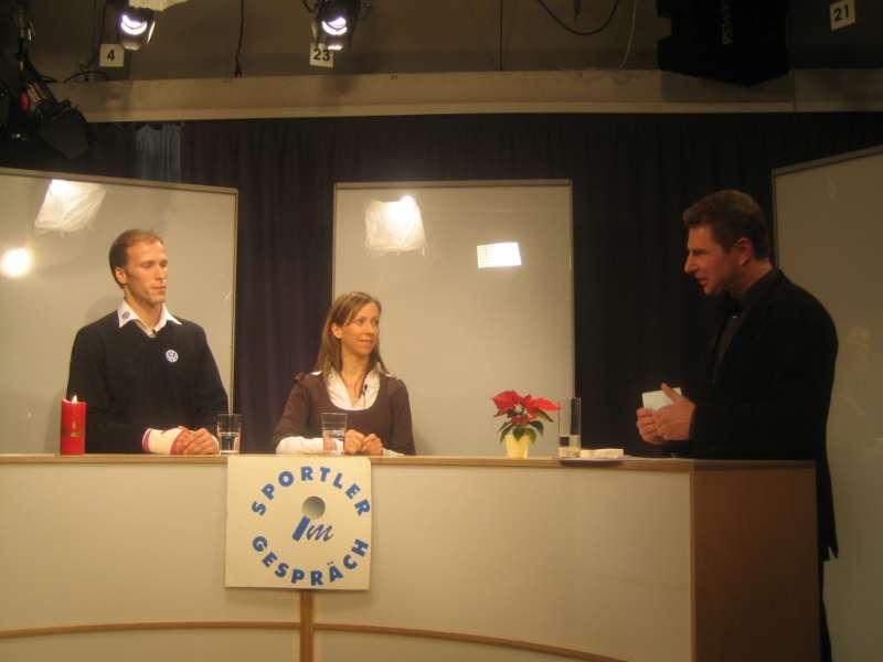 Christoph & Yvonne Keim mit Moderator Herbert Pumann bei Sportler im Gespr�ch, Dezember 2008