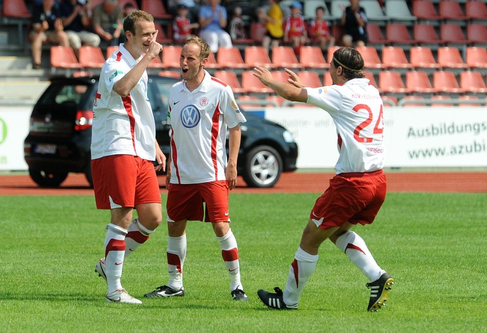 KSV Hessen - SV Wehen Wiesbaden II: Jubel, Dennis Joedecke, Rene Ochs, Benjamin Weigelt