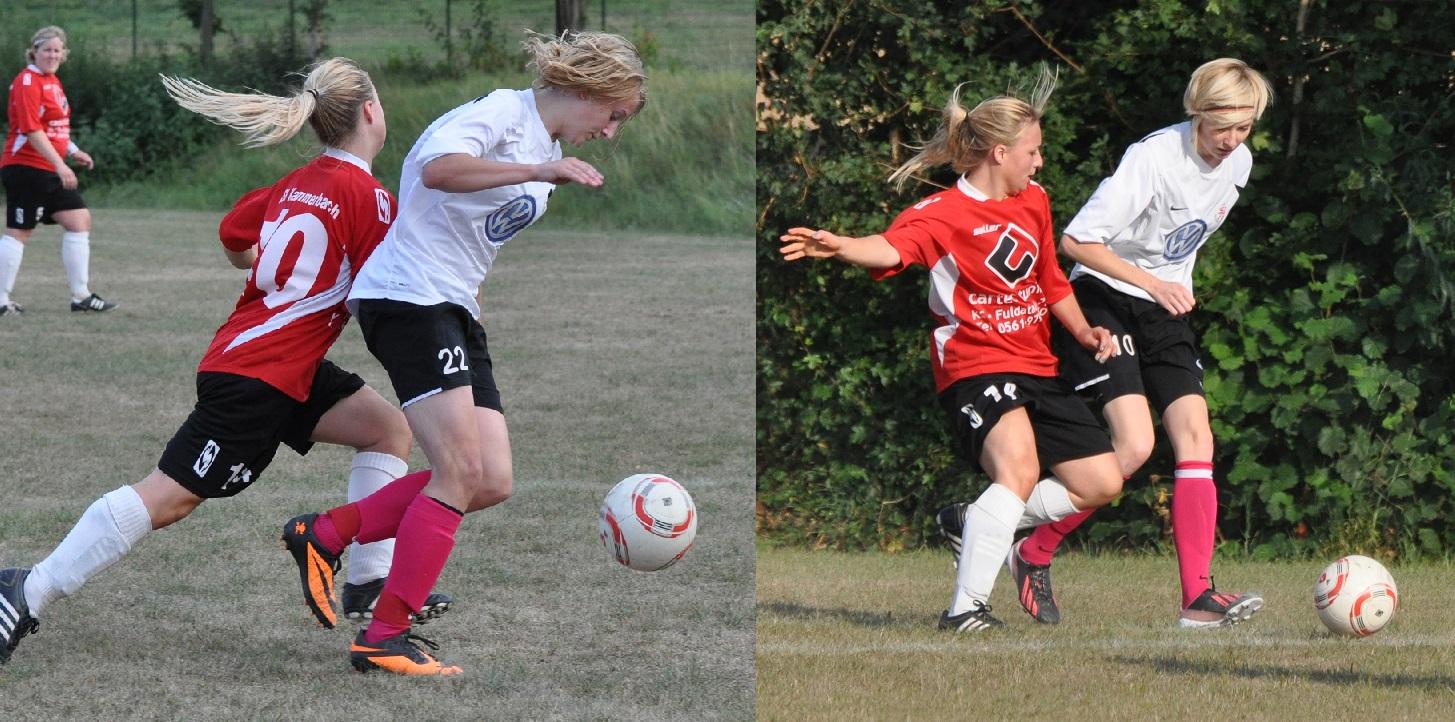 Insa Fischer (li.) und Ricarda Grie� (beide im Spiel gegen Kammerbach) erzielten die Tore beim 5:0 in Gl�serzell