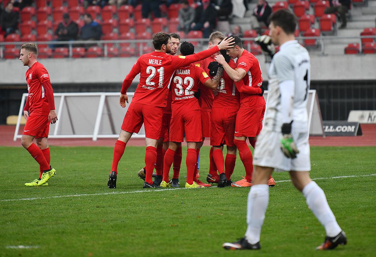 KSV Hessen Kassel - Hünfelder SV: Mannschaftsjubel