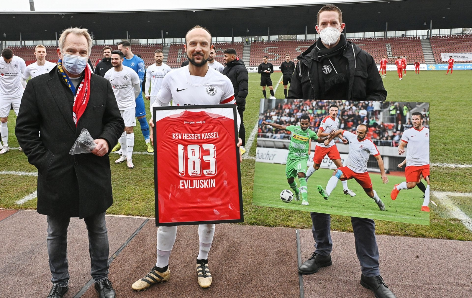 "Ehrung, Sergej ""Siggi"" Evljuskin, Jens Rose, Florian Beisheim"
