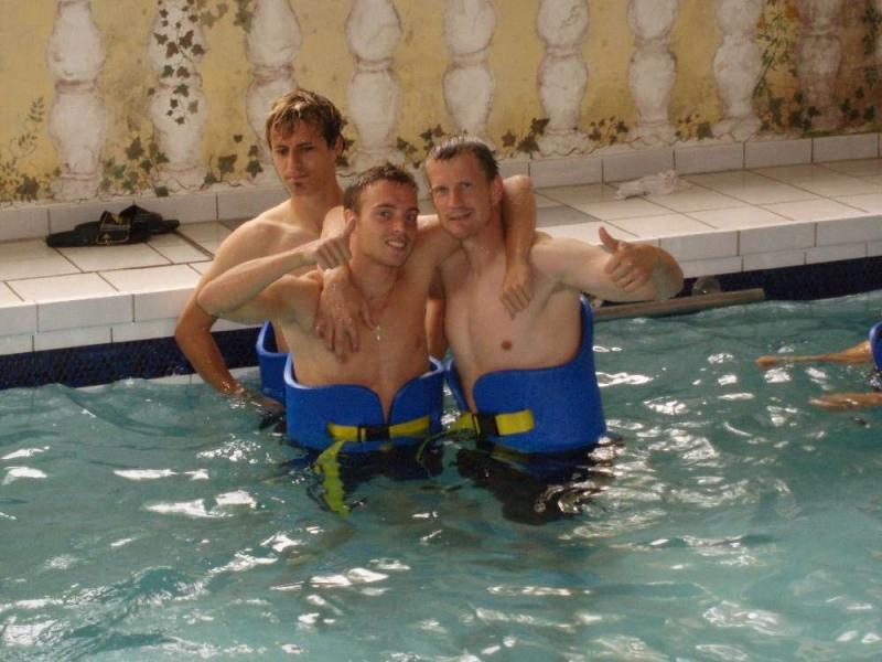 Kevin W�lk, Toni Bravo Sanchez und Thorsten Bauer nach Aqua-Jogging