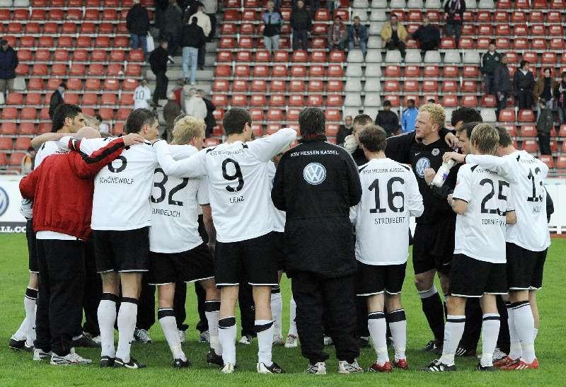 KSV Hessen - SpVgg Unterhaching II: Mannschaftsjubel