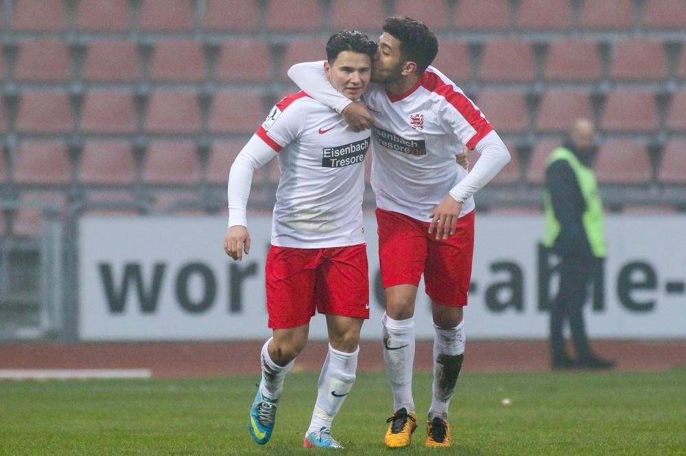 26.11.2016; Fussball; KSV Hessen Kassel - FC N�ttingen; im Bild: Jubel nach dem 2:2: Rolf Sattorov (KSV Hessen Kassel), Yassine Khadraoui (KSV Hessen Kassel)  Foto: Hedler