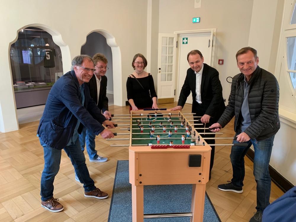 Eröffnung der Sonderausstellung zur nordhessischen Derbygeschichte im Hessischen Landesmuseum mit Bernd Lichte, Armin Ruda, Kathrin Meckbach, Oliver Zehe und Jörg Müller