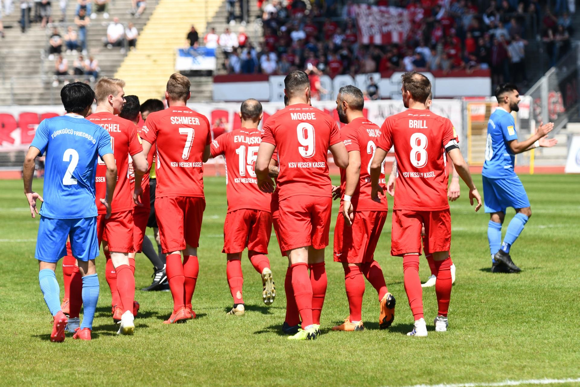 Lotto Hessenliga 2018/2019, KSV Hessen Kassel, T�rk G�c� Friedberg, Endstand 4:0; Jubel zum 1:0
