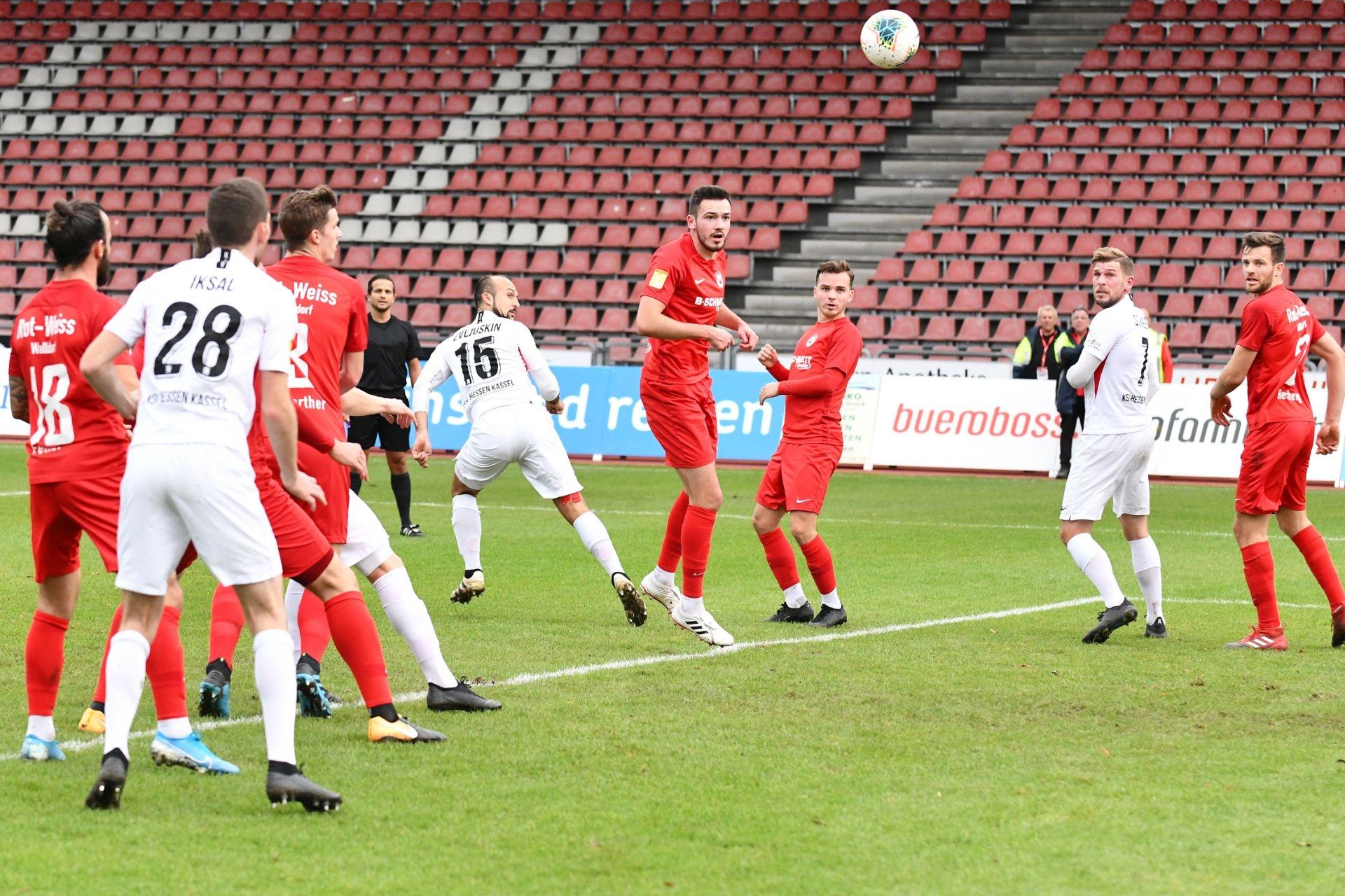 KSV Hessen Kassel, Rot-Weiss Walldorf, Endstand 4:0, Lukas Iksal (KSV Hessen Kassel), Sergej Evljuskin (KSV Hessen Kassel), Sebastian Schmeer (KSV Hessen Kassel)