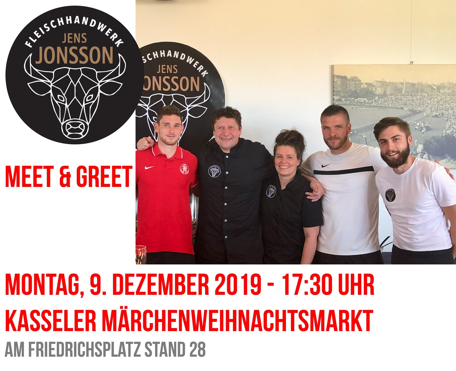 Meet&Greet mit Spielern des KSV Hessen Kassel am Weihnachtsmarktstand von Jens Jonsson Fleischhandwerk
