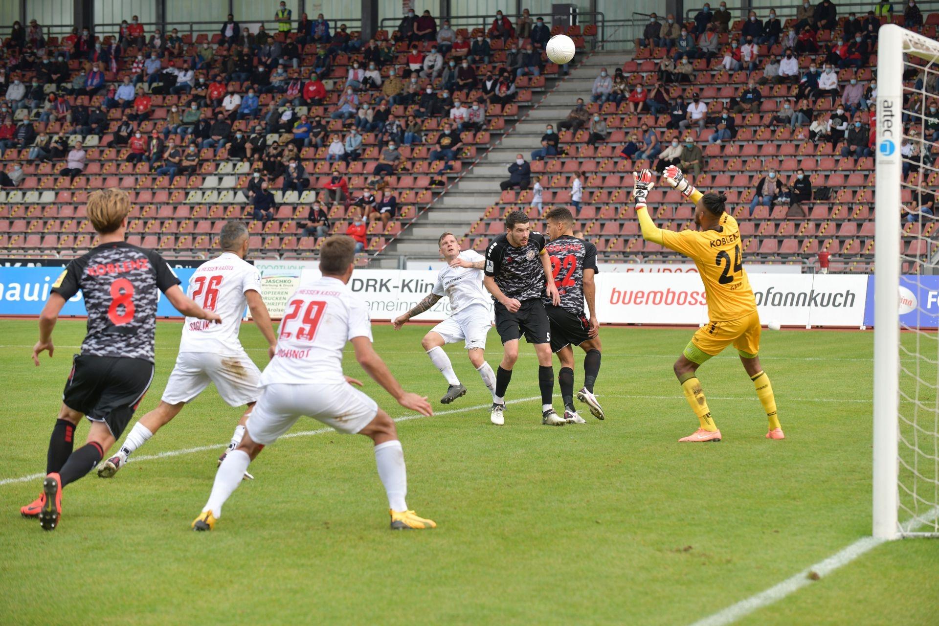 Regionalliga S�dwest 2020/21, KSV Hessen Kassel, Rot-Weiss-Koblenz, Endstand 1:1