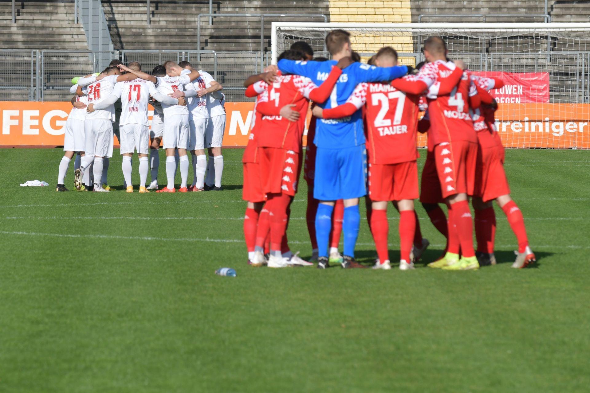 Regionalliga S�dwest 2020/21, KSV Hessen Kassel, 1. FSV Mainz 05 II, Endstand 2:1, Mannschaft vor dem Spiel