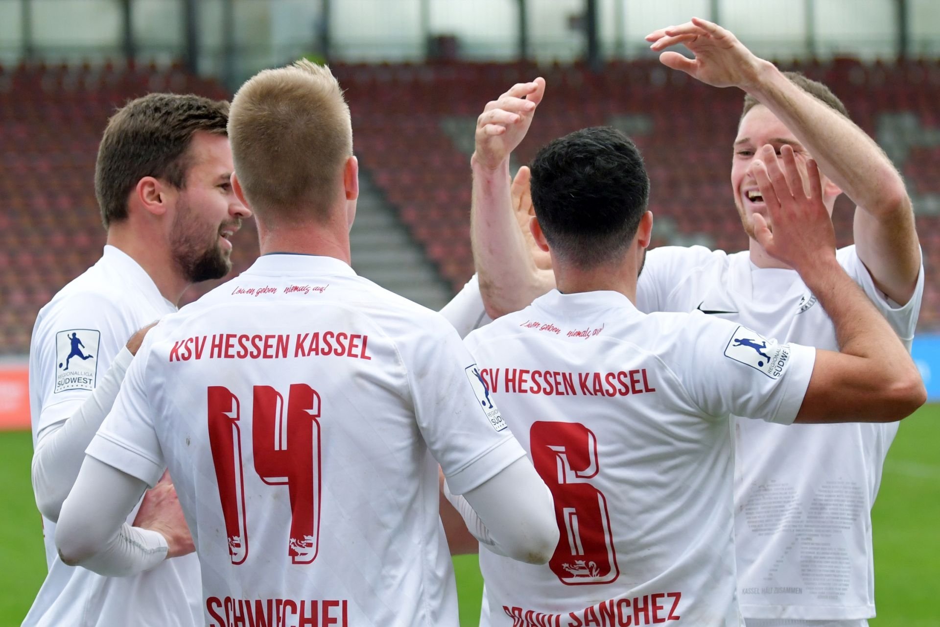 Regionalliga S�dwest 2020/21, KSV Hessen Kassel, 1. FSV Mainz 05 II, Endstand 2:1, Jubel zum 2:0