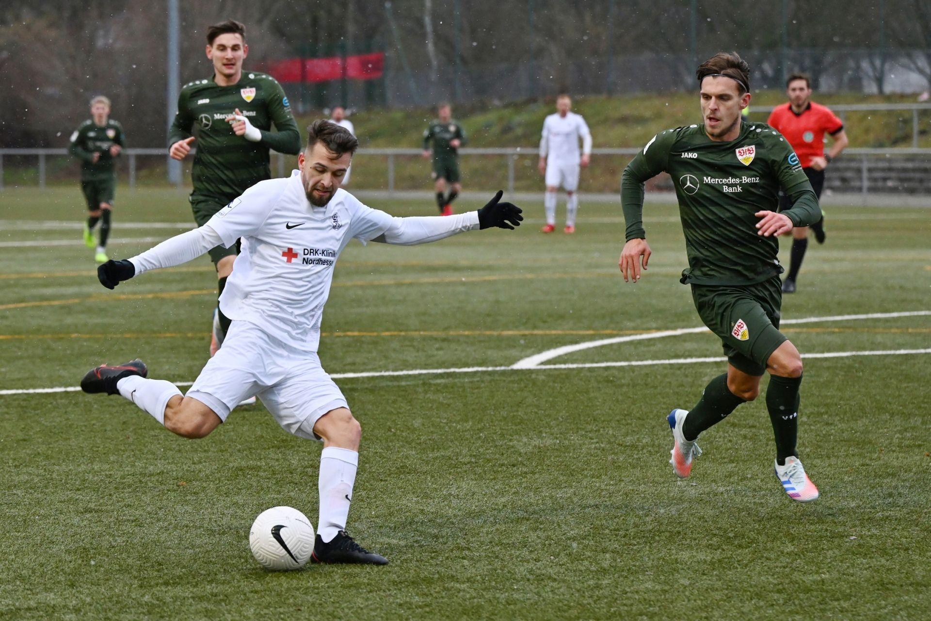 Regionalliga Südwest 2020/21, KSV Hessen Kassel, VfB Stuttgart II, Endstand 0:4, Marco Dawid