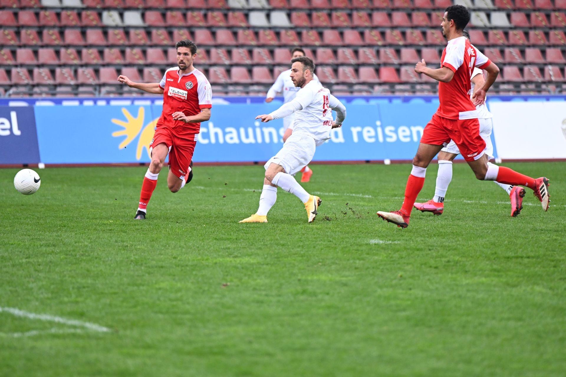 Regionalliga S�dwest 2020/21, KSV Hessen Kassel, VfR Aalen, Endstand 1:1, Torschuss zum 1:0