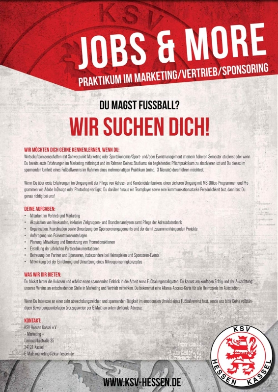 Stellenangebot Praktikum Marketing